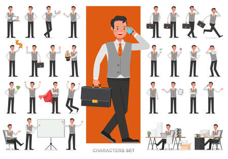 Set of business people working character vector design. Presentation in various action with emotions, running, standing and walking. Create your own pose design.