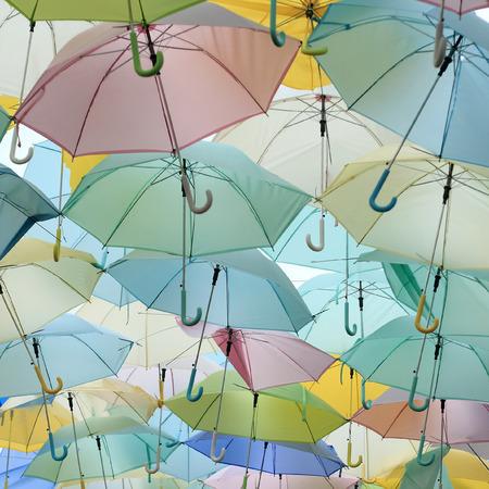pastel: lots of pastel colored umbrella