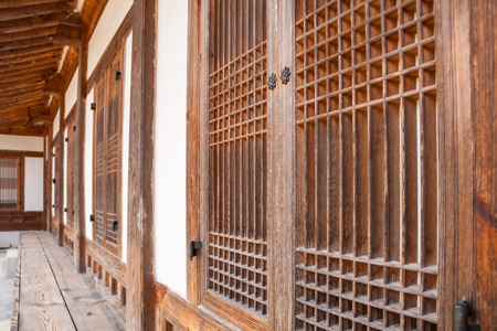 korean style house: Traditional Korean wooden buildings at Gyeongbok Palace, South Korea