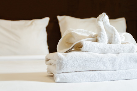 shaped: elephant shaped towels on the bed