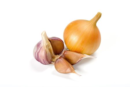 onions and garlic on white background