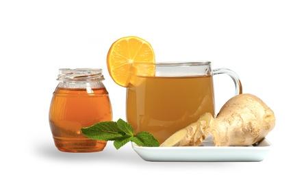 Ginger tea with honey, lemon and mint photo
