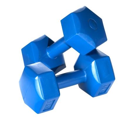 Hexagonal blue dumbbells isolated on white background