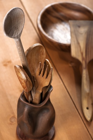 Eco friendly wooden cutlery set photo