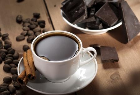 coffee cup with chocolate and cinnamon