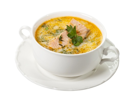 Salmon soup  isolated on white background
