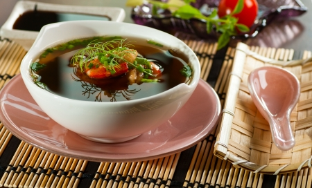 Japanese miso soup with shrimps