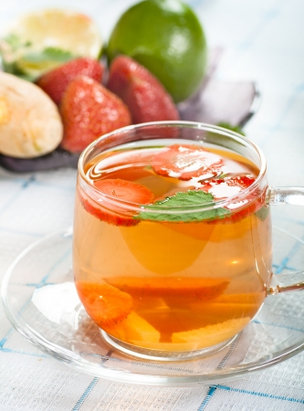 Ginger and strawberry tea with mint