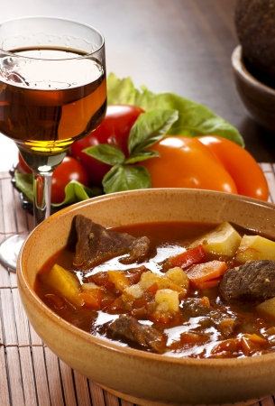 Goulash with  beef, potatoes and red pepper Stock Photo