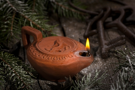 ancient relics: Ancient oil lamp still-life