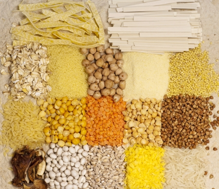 Different kinds of grains background photo