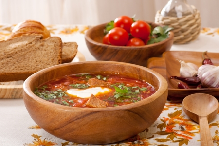 Ukrainian and russian traditional  borsch with beetroot, cabbage and tomato