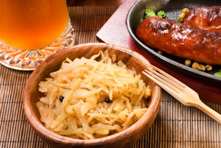 cabbage with sausages and beer Stock Photo