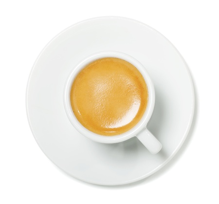 bar top: Espresso cup on white background with shadow