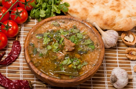 Kharcho with  vegetables and wheat cake Stock Photo