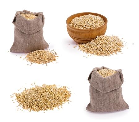 Set of quinoa grains on white