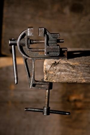 Old rusty vise tool still-life