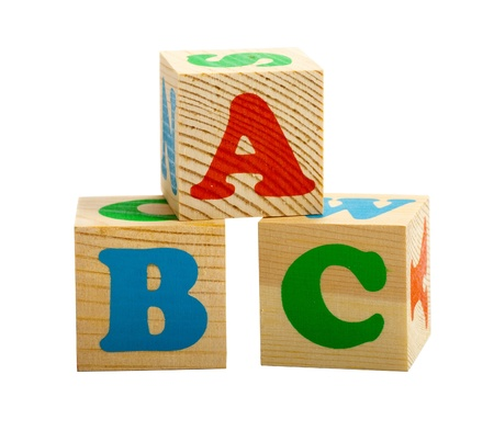 Three cubes with ABC letters isolated on white background Stock Photo