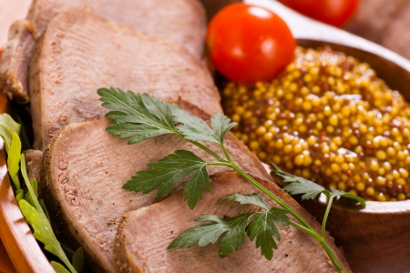 Sliced beef tongue with mustard Stock Photo - 18502654