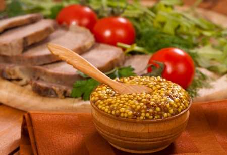 Mustard with tomatoes and meat horizontal Stock Photo - 18713463