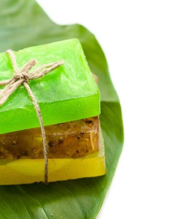 Three slices of soap on leaf