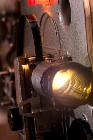 Lens of old  movie projector