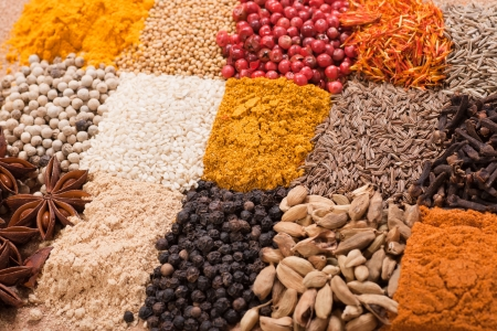 Multicolored set of various spices photo