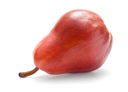 One red pear isolated on white