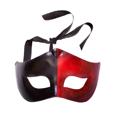 venetian mask: Carnival mask front view isolated on white