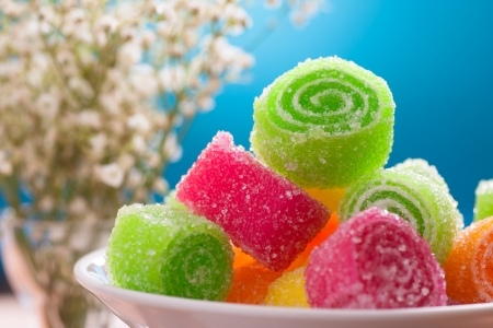 fruit candy on blue background