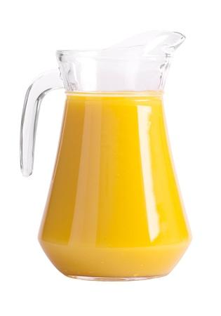 Pitcher of orange juice isolated on white