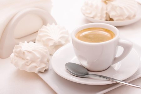 Coffee cup with sweet marshmallow Stock Photo