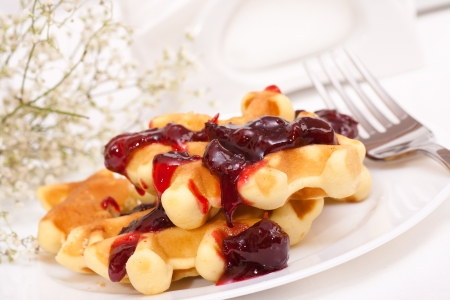 Wafers on plate with jam