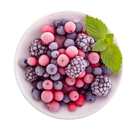 Frozen berry isolated top view