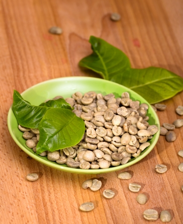 unroasted: Unroasted green coffee beans on plate