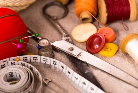 Old scissors and sew accessories Stock Photo - 23652111