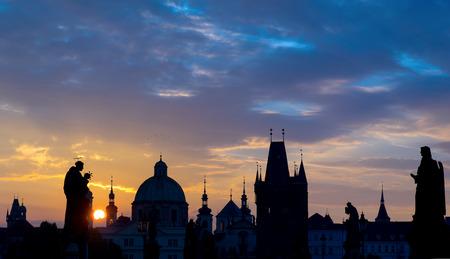 Sunrise over Prague view from Charles Bridge photo