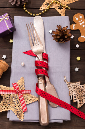 silver cutlery: Vintage festive old silver cutlery on table