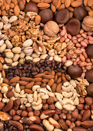 Variety edible nuts background