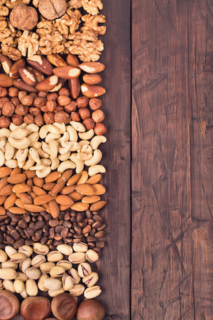 Variety nuts background at left side