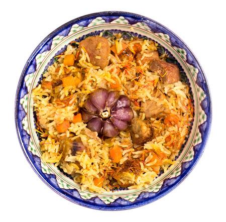 comida arabe: Cuenco de arroz oriental vista superior pilaf aislado