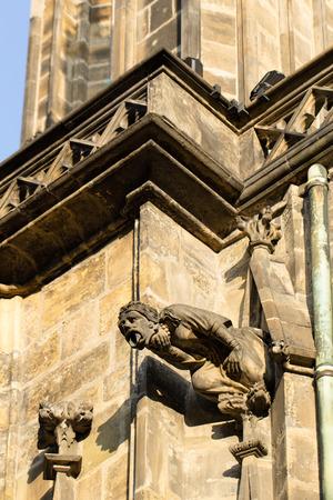 gargouille: Gargoyle closeup shot of gothic cathedral of Saint Vitus in Prague