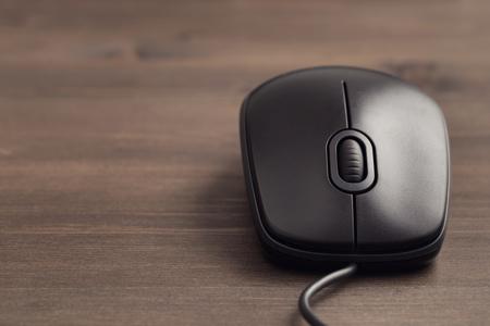 raton: Primer negro ratón del ordenador con cable entonado