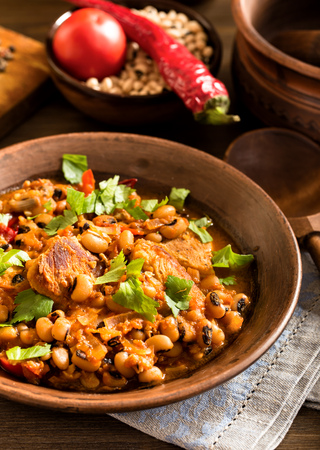 baked beans: Homemade baked beans with pork rustic style