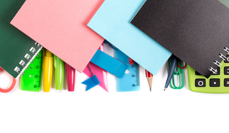 crayon  scissors: Notebooks and stickers on stationery supplies  on white above Stock Photo