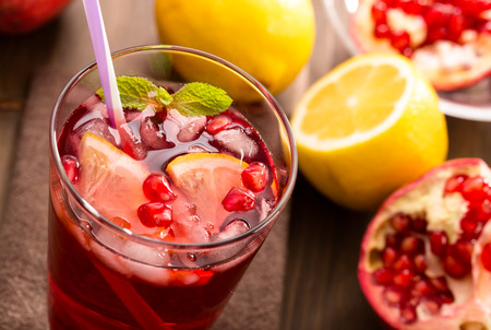 Pomegranate with lemon and ice Refreshing drink