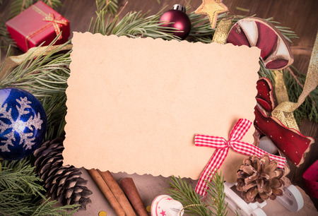 Empty card and christmas decoration Stock Photo