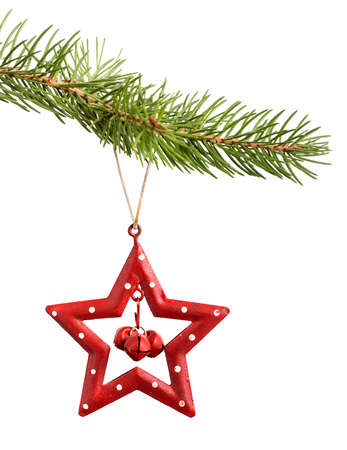 Christmas red star decoration hanging on fir-tree branch isolated on white