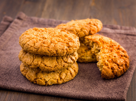 oatmeal cookie: Oatmeal cookies on napkin closeup