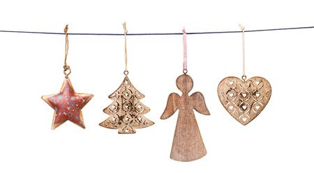 Christmas decorations hanging on string isolated on white background Standard-Bild